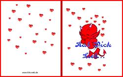 Grußkarten zum Valentinstag zum Ausdrucken